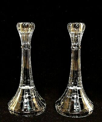 Clear Glass Candlesticks Vintage Candle Holders 8 inches Tall Estate Sale Find