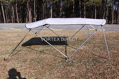 "NEW VORTEX GREY/GRAY 4 BOW PONTOON/DECK BOAT BIMINI TOP 8' long 73-78"" wide"