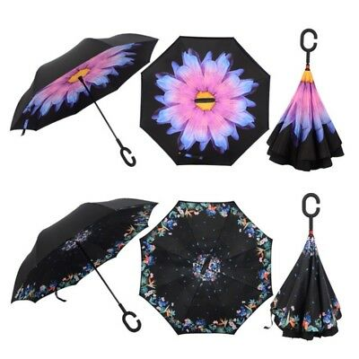 Windproof Umbrella Inverted Upside Down C-Handle Reverse-Design Double Layer NEW
