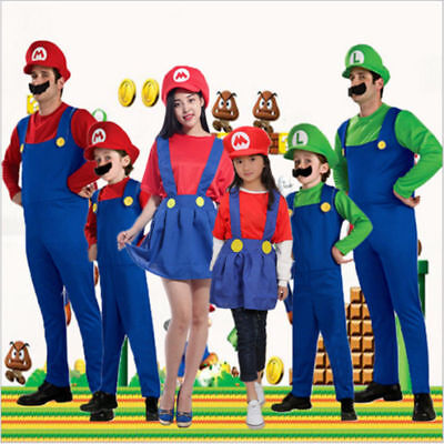 Kids Adults Mens Super Mario & Luigi Bros Fancy Dress Halloween Costume Plumber
