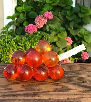 Mid Century Vintage Lucite Acrylic Amber Brownish Grapes on Driftwood