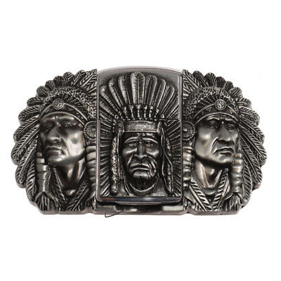 Mens' Indian Pattern Removable Belt Buckle With Refillable Zinc Alloy Lighter