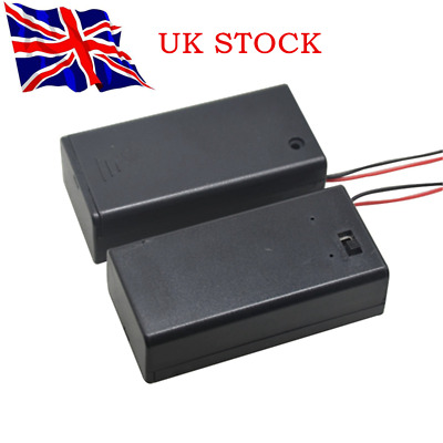 UK Black 9V PP3 Enclosed Battery Holder Box ON/OFF Switch With Wires