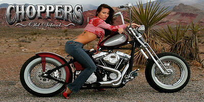 Chopper, Motorcycle, Bagger, Man Cave, Garage Wall banner - Choppers Chic #3