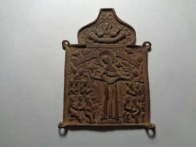 Russian orthodox old bronze parts of triptich Rare Icon original 18-19 AD  12