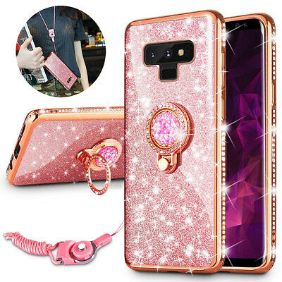 For Samsung Galaxy Note 9 Bling Diamond TPU Case Cover & Stand Ring & Lanyard