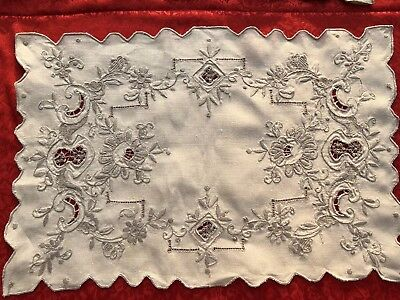 Rare To Find Vintage Madeira Ecru Embroidered Placemats Floral Design Set Of 8