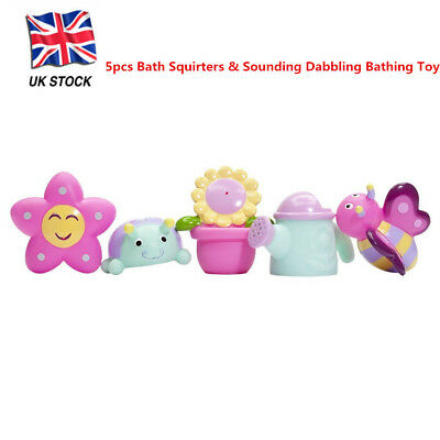 5pcs Bath Squirters & Sounding Dabbling Bathing Toy Baby Spray Water Flower Girl