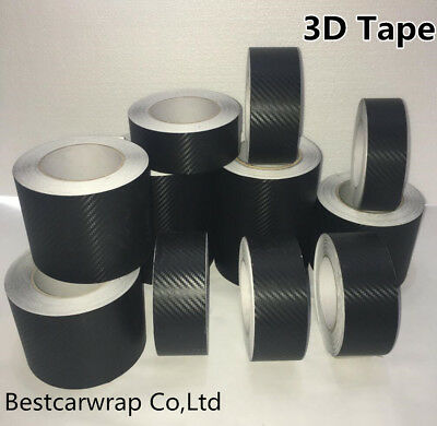 Classic 3D Textured Black Carbon Fiber Film Vinyl Tape Car Wrap Sticker Adhesive