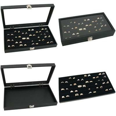 Jewelry Display Case 72 Slot Compartment Ring Tray Box Glass Top Black Dust Free