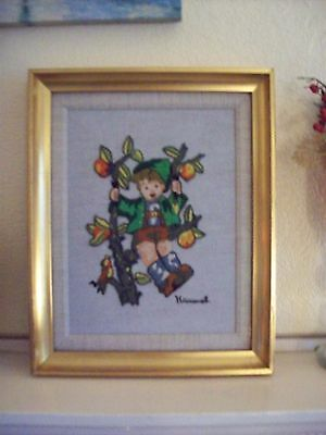 Vintage Hummel Hand Embroidered Woolwork Picture Framed Tree Swing