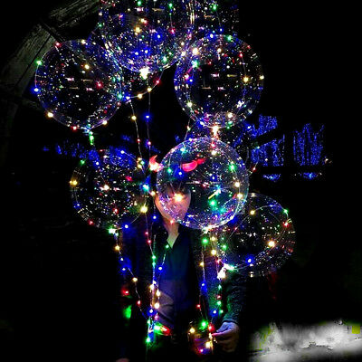 Large Luminous LED Lights Clear Bubble Helium Balloons Christmas Party DIY Decor