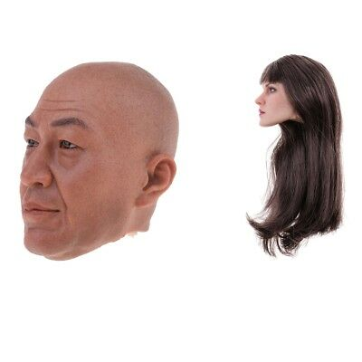 1/6 Soldier Man & Woman Head Carving Model for 12'' Phicen Kumik Figure Toy