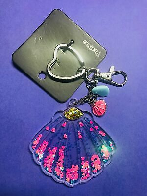 Mermaid Shell Glitter Filled Key Chain / Key Ring with Charms
