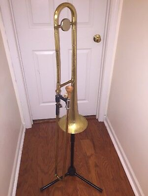Custom Hand-Hammered Vintage Trombone W/ lightweight slide and Wooden Mouthpiece