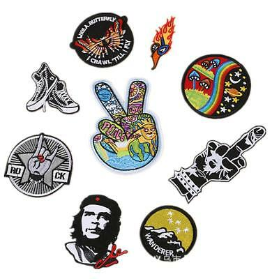 Embroidered Sew Iron On Patches Badge DIY Clothes Applique Fabric Craft US