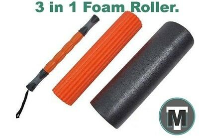 3 in 1 Foam Roller release muscle tension physio, Yoga and Pilates