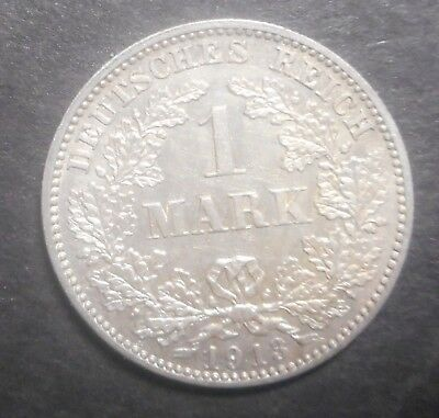 Germany  1913 J 1 Mark Silver Coin XF/ AU