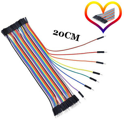 40X 20cm 2.54MM Macho a Hembra 1P-1P para Arduino Cable Dupont Jumpercables