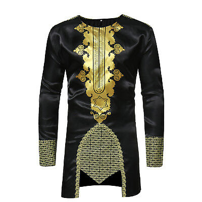 National African Style Shirt Men's Printed Long-Sleeve Casual Shirts Hippie Top