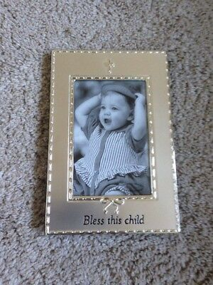 Silver Metal Photo Frame-Birth Christening Bapstism-Bless this Child on bottom