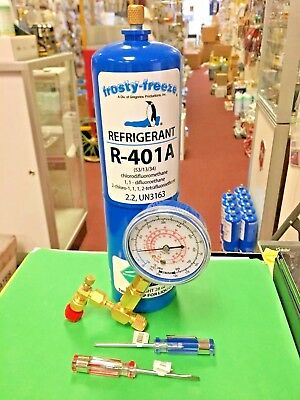 R401a, MP39, Refrigerant Coolers, Freezers, 28 oz Can, On/Off Valve & Gauge