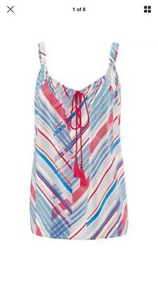 CAbi 5230 XlargeTie Front Tassel Tank Top Red Blue Stripe Blouse Sleeveless