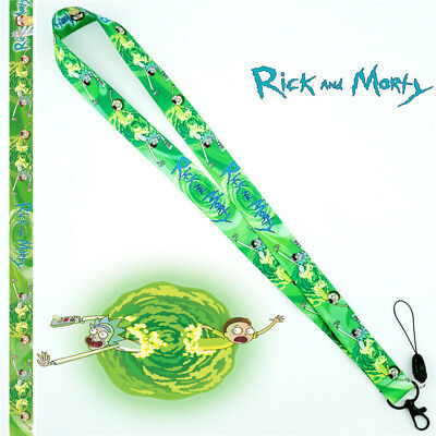 Anime Rick and Morty Lanyard Neck Strap Charms Cell Phone Rope Keychain Cosplay