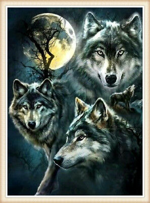 UK Wolves DIY Full Drill 5D Diamond Painting Embroidery Cross Stitch Kit Decor