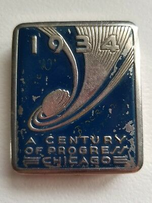 VINTAGE 1934 Chicago World's Fair Art Deco Blue and Silver Collector Compact
