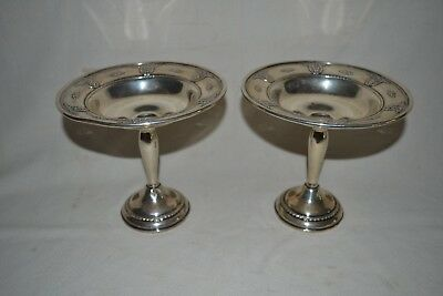 """Pair Vintage Wallace Rose Point Sterling Compotes 6 ¼"""" Tall Bon Bon"""