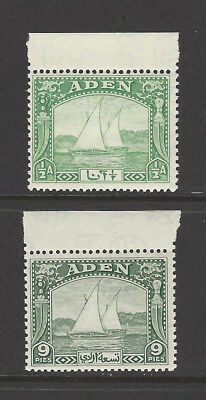 ADEN KGVI SG1 - 2 Dhows ½a yellow-green and 9p deep green Unmounted mint um MNH