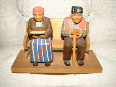Vintage  Norwegian Hand Carved Wood Man& Woman Couple on bench