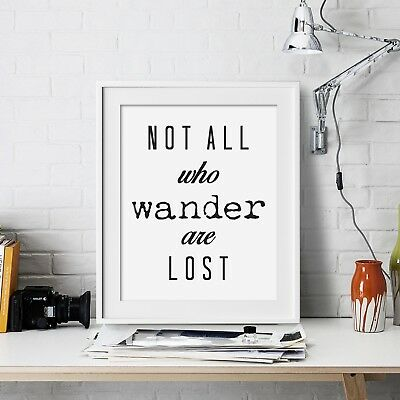 Not all who wander Inspirational Wall Art Print Motivational Quote Poster Decor
