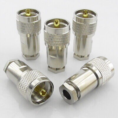 5pcs PL259 UHF Plug Male Clamp Type Compression for Aircell 7 Ultraflex 7 LMR300