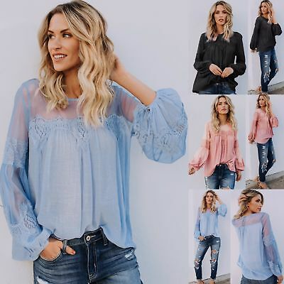 Womens Fashion Sexy Lace Long Puff Sleeve Loose Blouse Shirts Crew Neck Tops