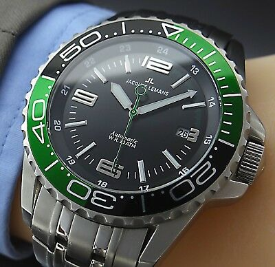 Big-Size 44 mm JACQUES LEMANS AUTOMATIC SAPPHIRE DATE Herren Armbanduhr in Stahl