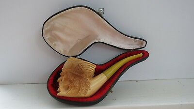 VINTAGE CARVED MEERSCHAUM Tobacco PIPE with CASE