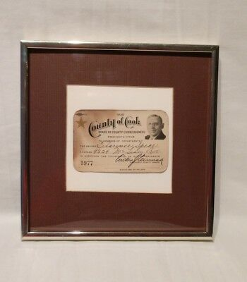 Rare 1930 Cook County Anton J Cermak Board of Commisioners President Member Card