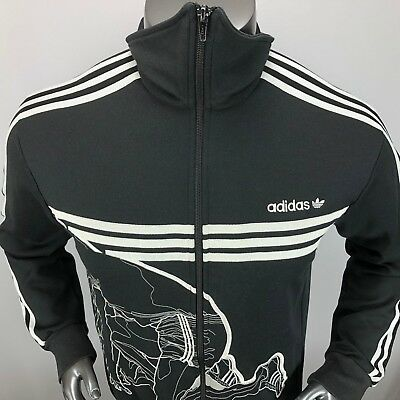fb31021903df Adidas Mens L Embroidered Starting Gate Full Zip Black Track Jacket EUC!