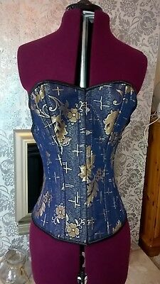 Blue and Gold Brocade Steel Boned Overbust Corset with Plunging Back Size Large