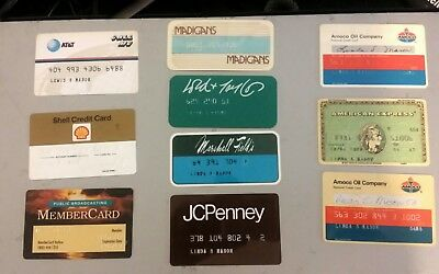Lot of 10 Vintage Credit Cards Amoco JcPenny's American Express Marshall Fields