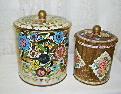 Vintage Daher Tin Boxes Made in England Set of Two