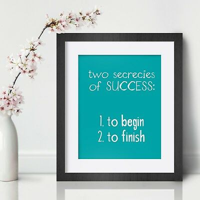 Success Inspirational Wall Art Print Motivational Quote Poster Decor Gift Him
