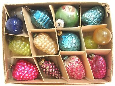 """12 VINTAGE FEATHER TREE FIGURAL + ORNAMENTS CHRISTMAS MINI 1 1/4"""" in BOX JAPAN"""