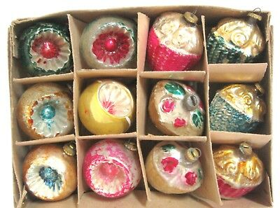 """12 Vintage Feather Tree Figural Indents Ornaments Christmas Mini 1 1/4"""" Bx Japan"""