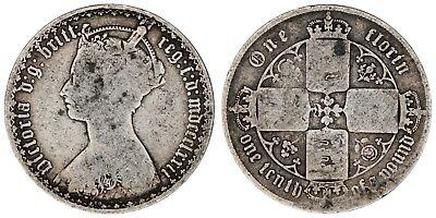 1872 Victoria florin silver coin of Great Britain