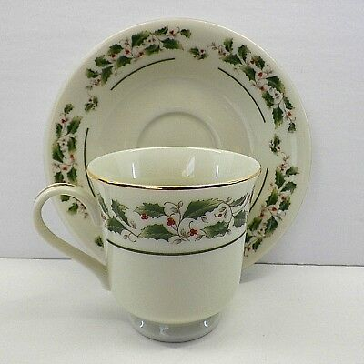 Christmas China Share The Joy Cup Saucer by Fine China Of Japan Holly and Berry