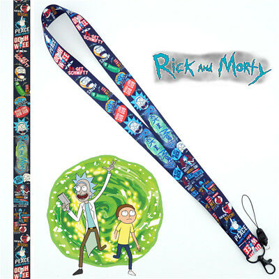 Anime Rick and Morty Pickle Lanyard Neck Strap Charms Cell Phone Rope Keychain N