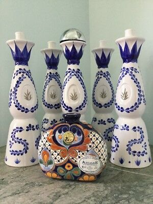 Hand Crafted Tequila Bottles 5 Clase Azul & 1 Azulejos 750 ml Empty
